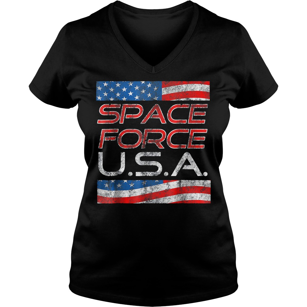 Space Force Vintage USA Trump Military Patriotic 2020 Ladies V Neck - Space Force Vintage USA Trump Military Patriotic 2020 T-Shirt