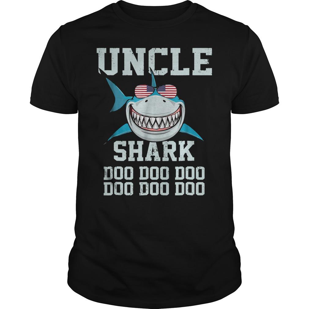 Uncle Shark Doo Doo American Flag Guys Tee - Uncle Shark Doo Doo American Flag T-Shirt