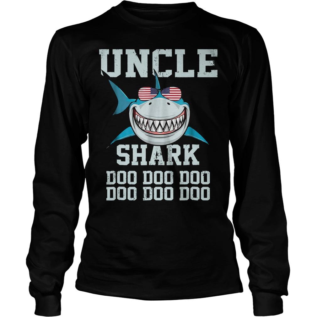 Uncle Shark Doo Doo American Flag Unisex Longsleeve Tee - Uncle Shark Doo Doo American Flag T-Shirt