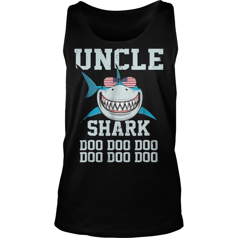 Uncle Shark Doo Doo American Flag Unisex Tank Top - Uncle Shark Doo Doo American Flag T-Shirt