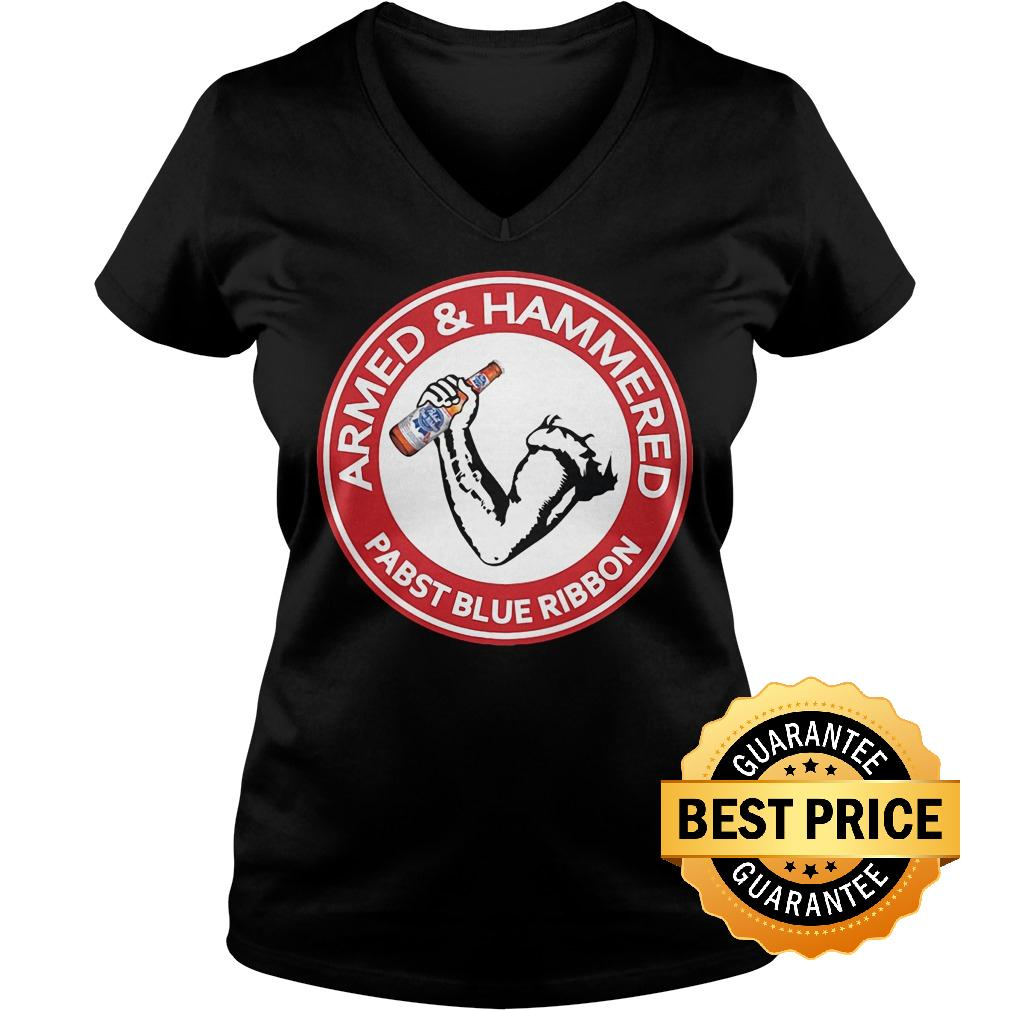 Official Armed Hammered Pabst blue ribbon shirt Ladies V Neck - Official Armed Hammered Pabst blue ribbon shirt