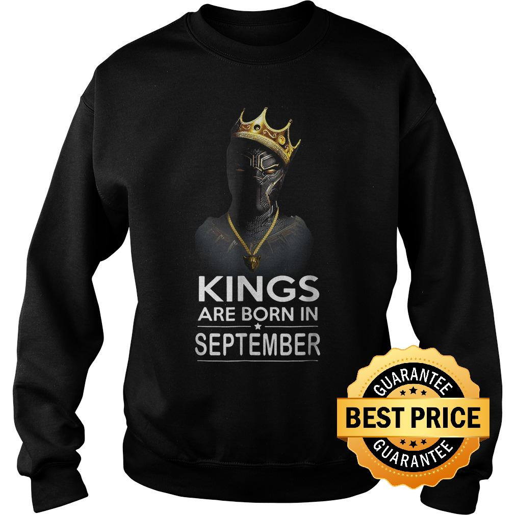Official Black Panthers Kings Are Born In September Shirt Sweatshirt Unisex