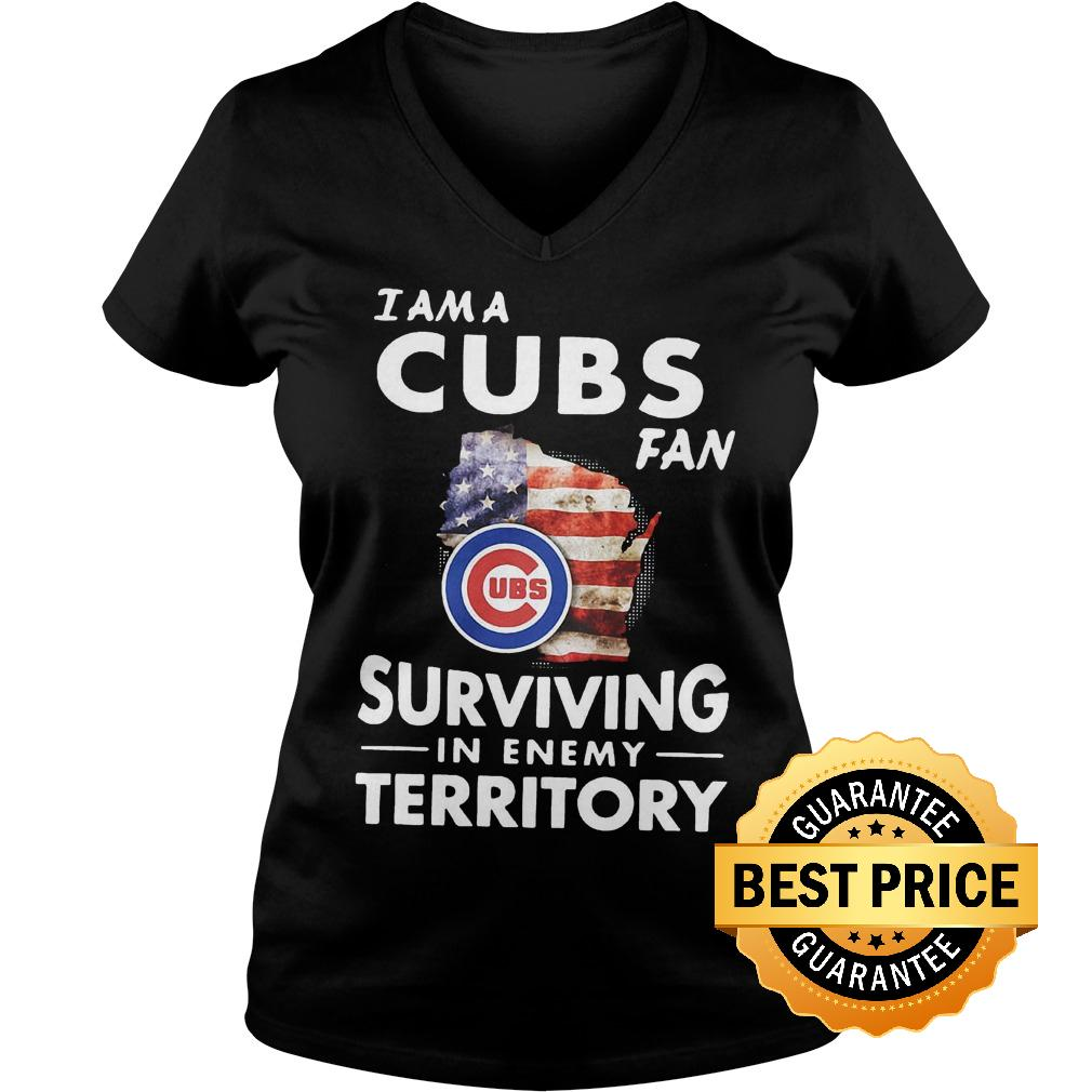 Official I am a Cubs fan surviving in enemy territory shirt Ladies V Neck - Official I am a Cubs fan surviving in enemy territory shirt