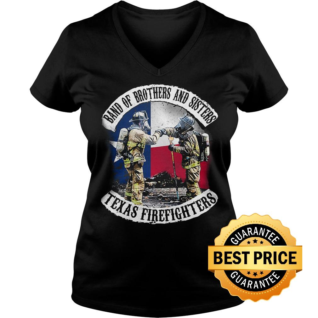 Premium Band of brothers and sisters Texas Firefighter shirt Ladies V Neck - Premium Band of brothers and sisters Texas Firefighter shirt