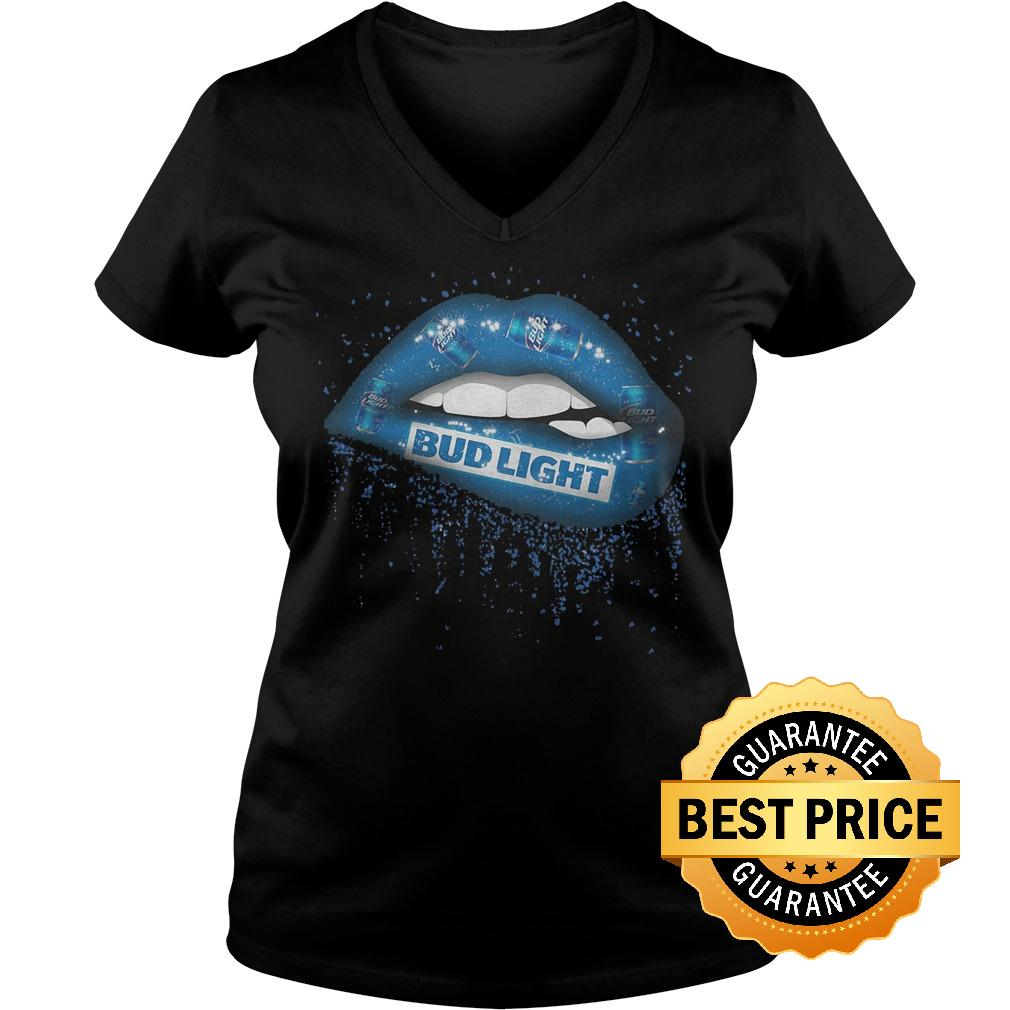 Premium Bud Light Lips shirt Ladies V Neck - Premium Bud Light Lips shirt