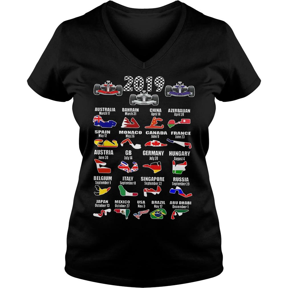 2019 Racing Calendar Shirt Ladies V Neck - 2019 Racing Calendar Shirt
