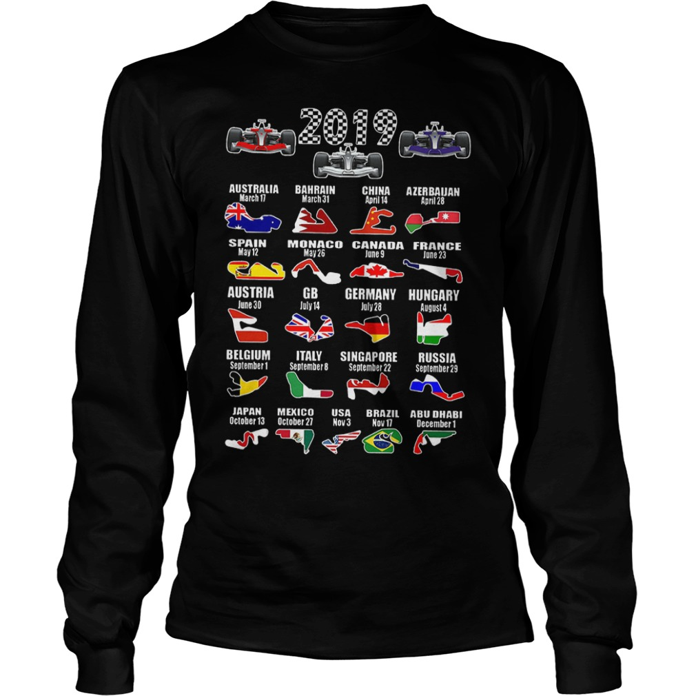 2019 Racing Calendar Shirt Longsleeve Tee Unisex - 2019 Racing Calendar Shirt