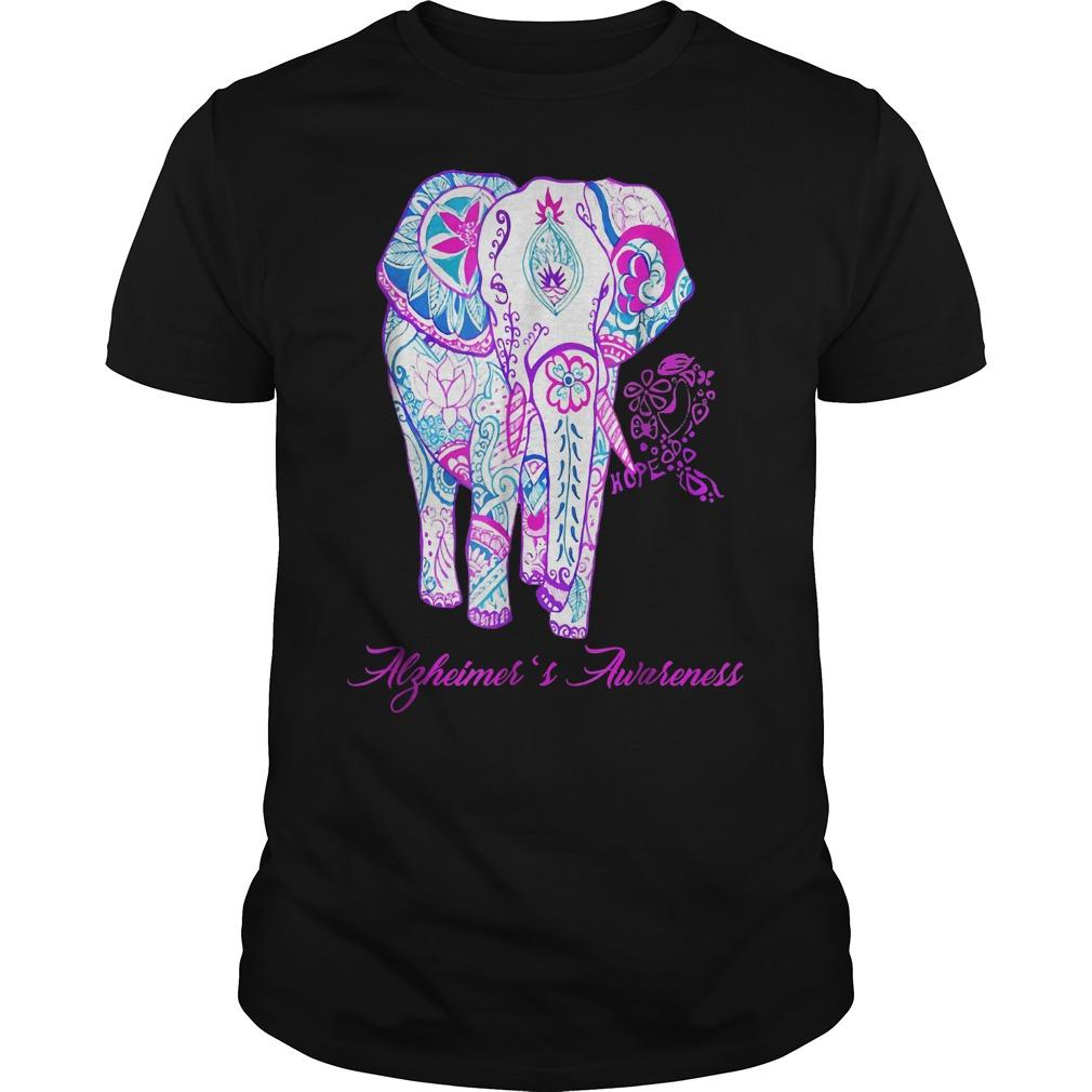 Alzheimer awareness elephant flower shirt