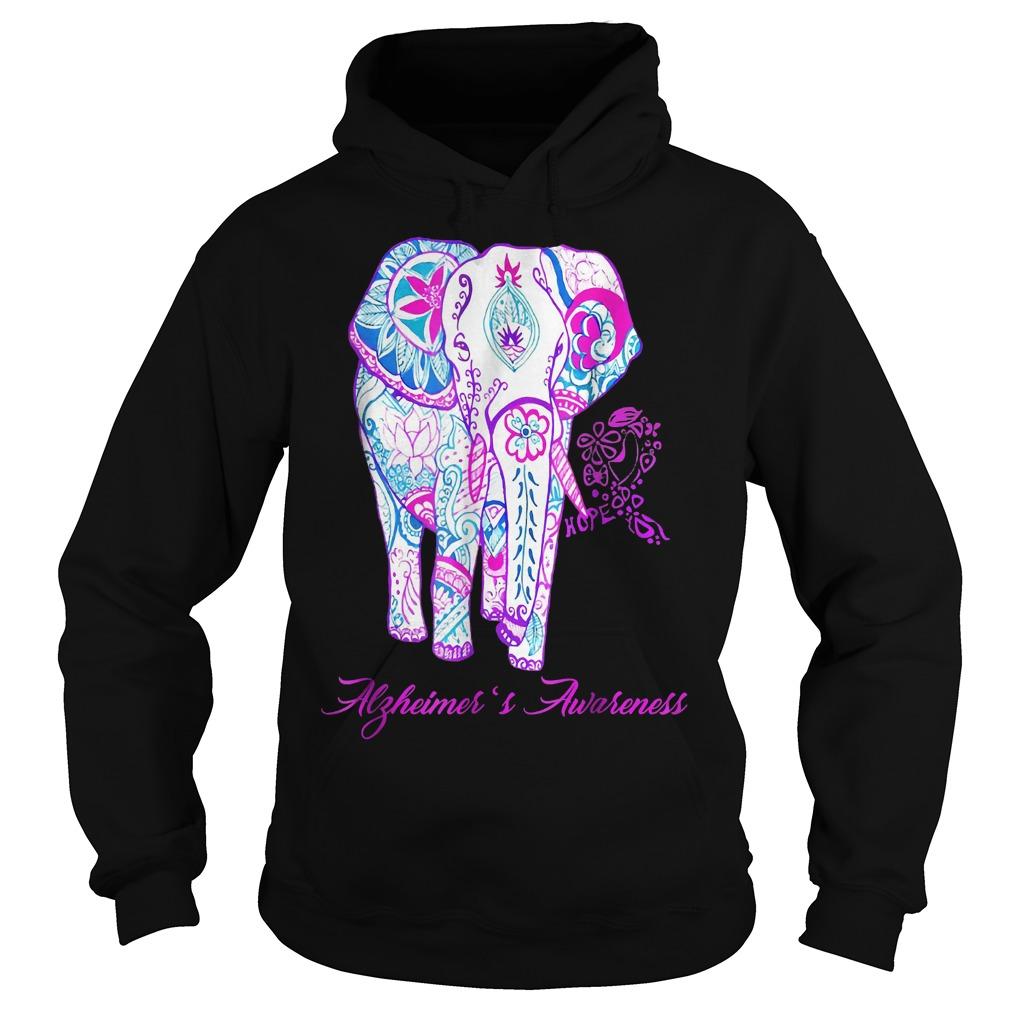 Alzheimer awareness elephant flower shirt Hoodie - Alzheimer awareness elephant flower shirt