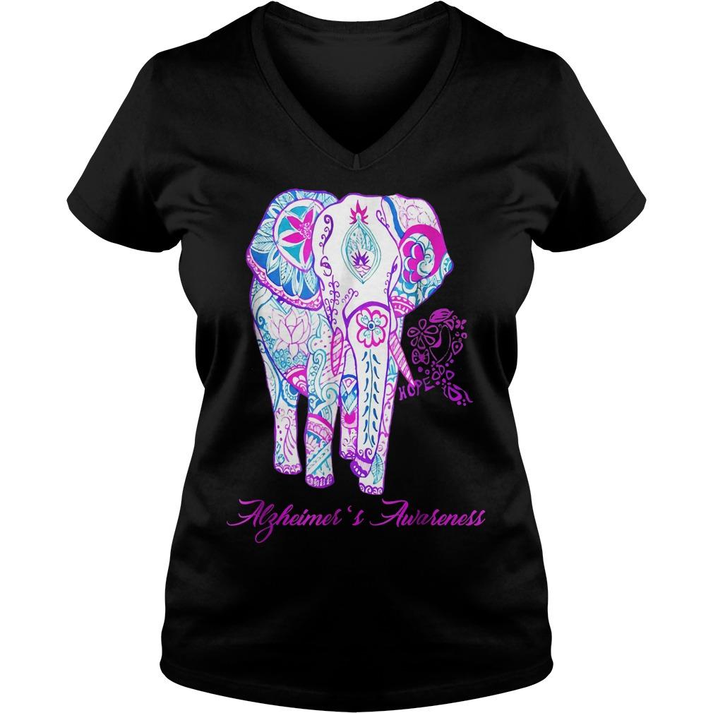 Alzheimer awareness elephant flower shirt Ladies V Neck - Alzheimer awareness elephant flower shirt
