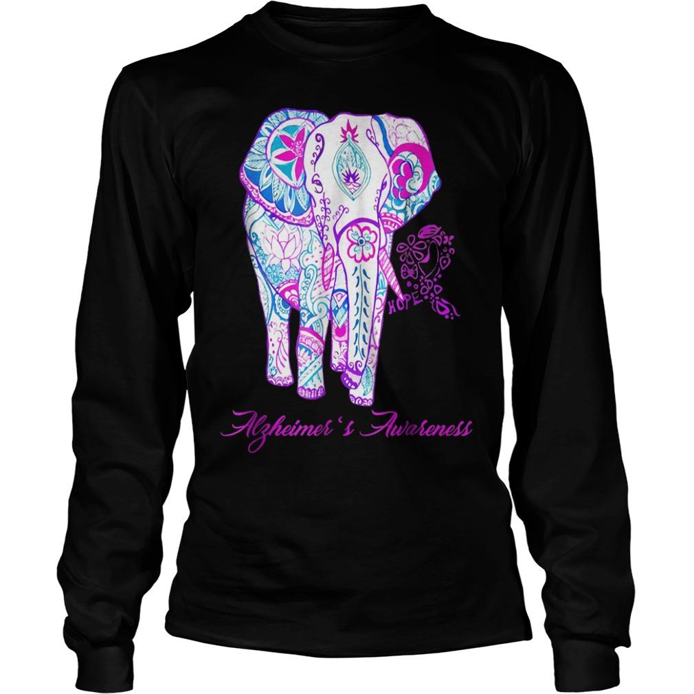 Alzheimer awareness elephant flower shirt Longsleeve Tee Unisex - Alzheimer awareness elephant flower shirt