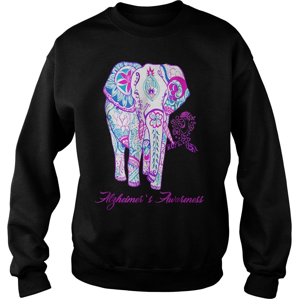 Alzheimer awareness elephant flower shirt Sweatshirt Unisex - Alzheimer awareness elephant flower shirt