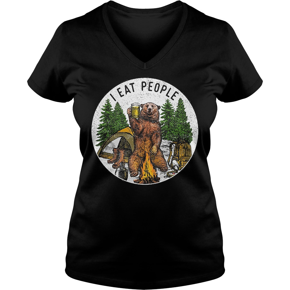 Hiking bear i eat people and drink beer Shirt Ladies V Neck - Hiking bear i eat people and drink beer Shirt