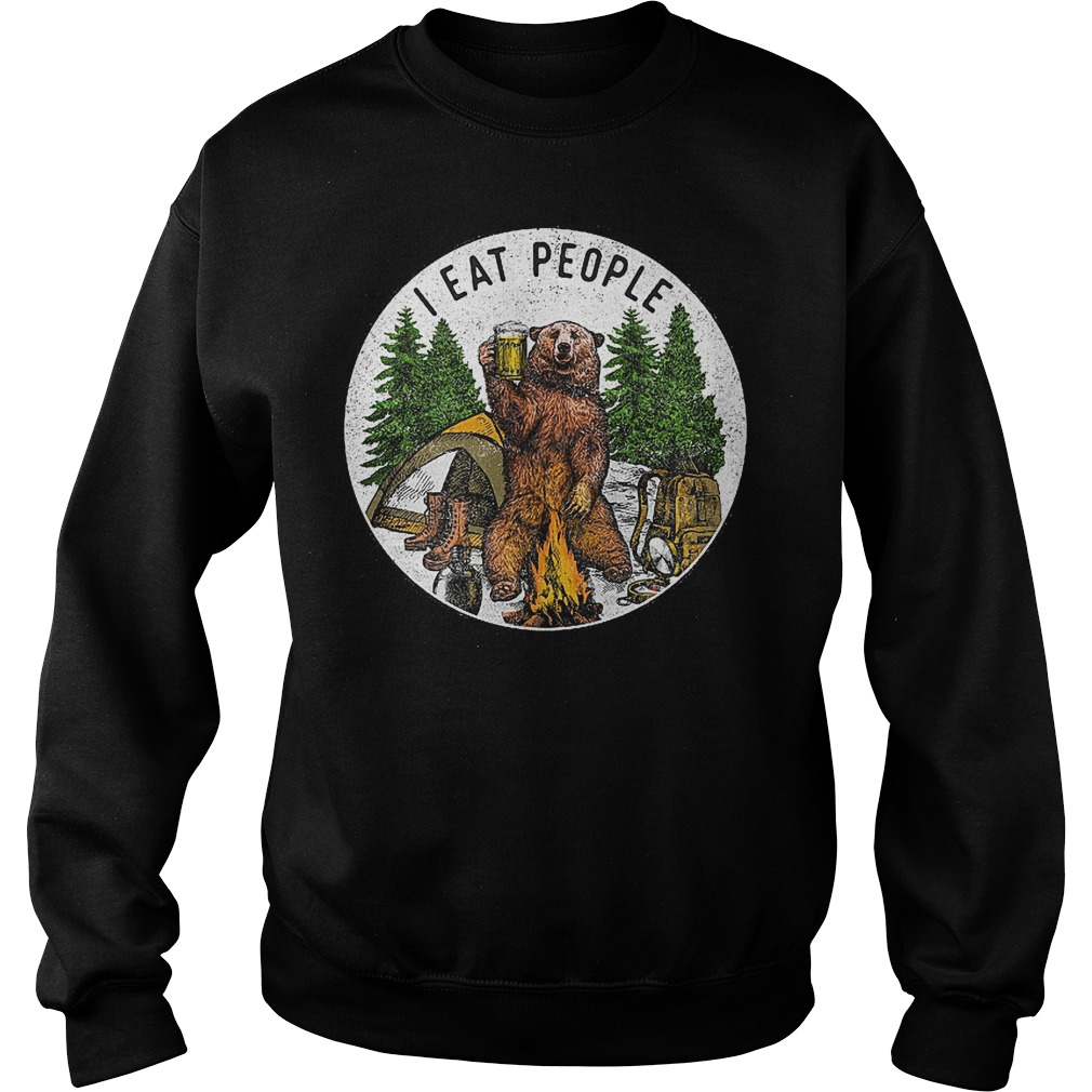 Hiking bear i eat people and drink beer Shirt Sweatshirt Unisex - Hiking bear i eat people and drink beer Shirt