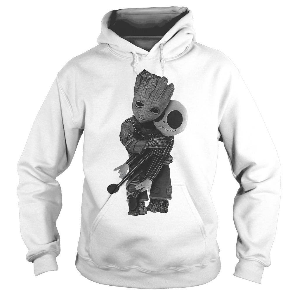 Premium Baby Groot Hugs Jack Skellington Shirt Hoodie - Premium Baby Groot Hugs Jack Skellington Shirt
