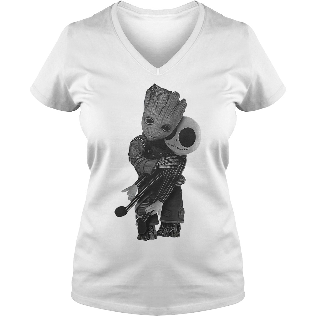 Premium Baby Groot Hugs Jack Skellington Shirt Ladies V Neck - Premium Baby Groot Hugs Jack Skellington Shirt