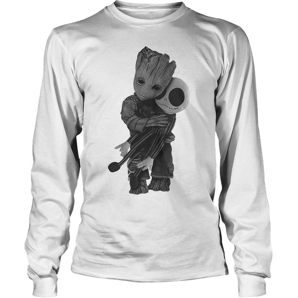 Premium Baby Groot Hugs Jack Skellington Shirt Longsleeve Tee Unisex - Premium Baby Groot Hugs Jack Skellington Shirt