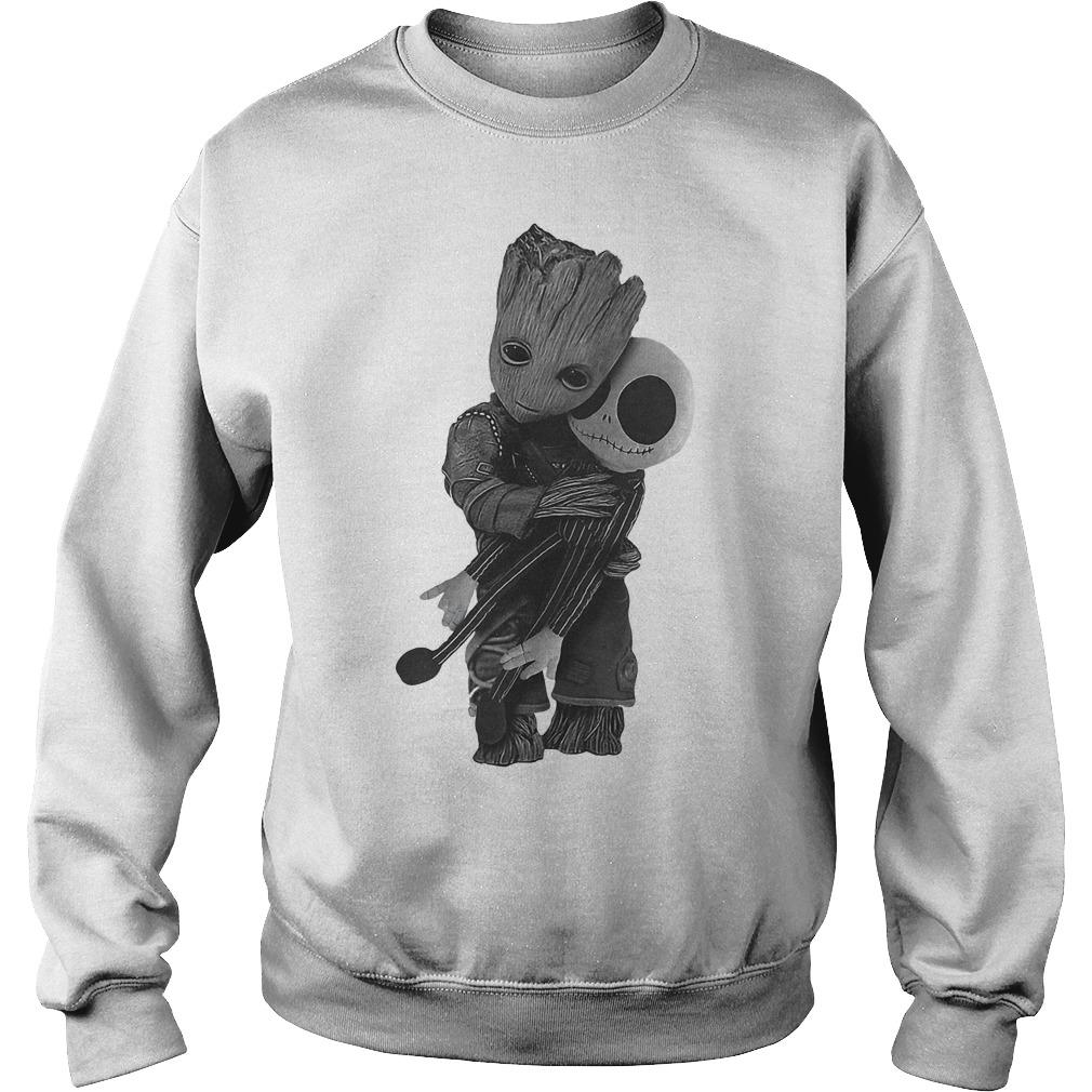 Premium Baby Groot Hugs Jack Skellington Shirt Sweatshirt Unisex - Premium Baby Groot Hugs Jack Skellington Shirt