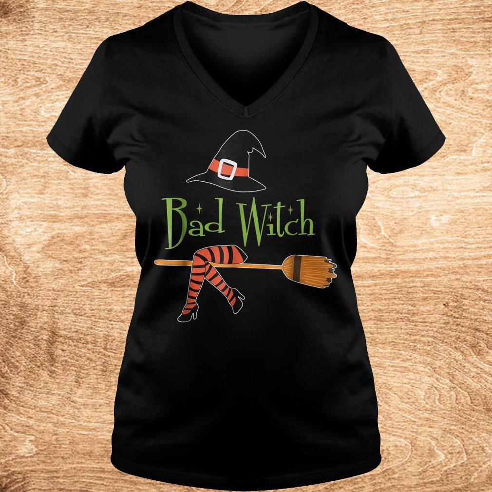 Bad witch halloween shirt Ladies V Neck - Bad witch halloween shirt