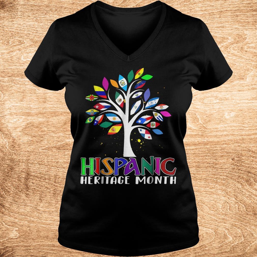 Best Price National Hispanic heritage month tree flag shirt Ladies V Neck - Best Price National Hispanic heritage month tree flag shirt