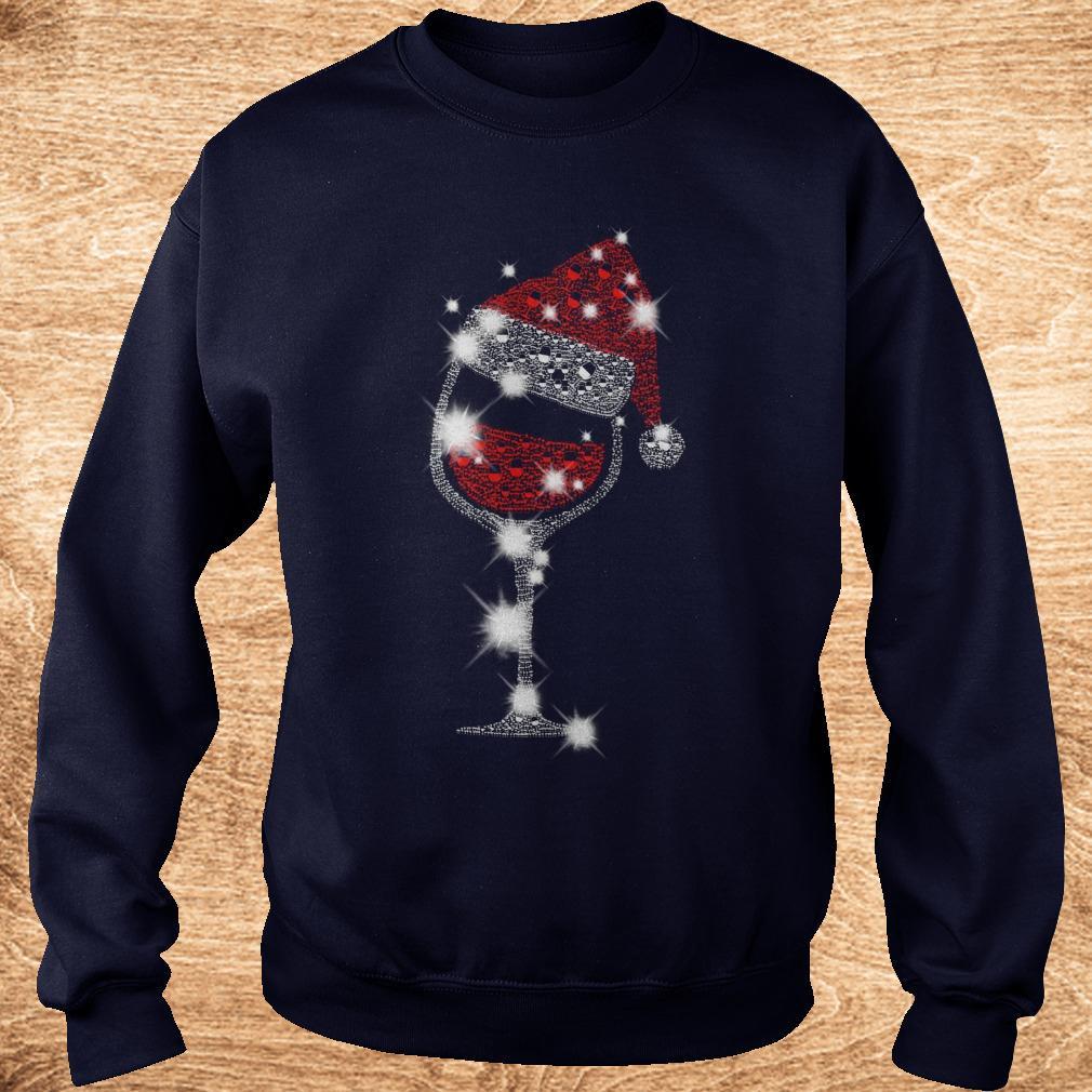 Best price Christmas Rhinestone Wine Glasses with Santa Hat shirt