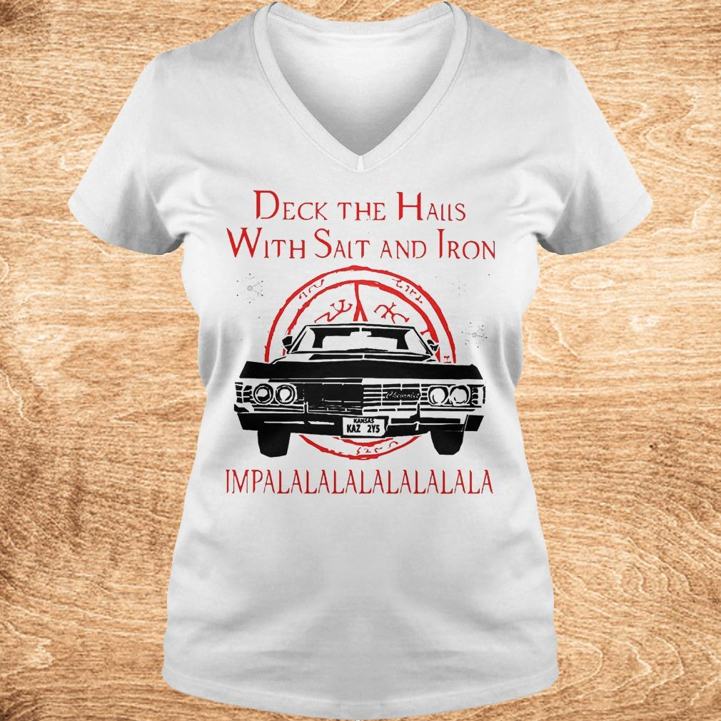 Deck the hails with Salt and Iron impalalala Christmas Shirt Ladies V Neck - Deck the hails with Salt and Iron impalalala Christmas Shirt