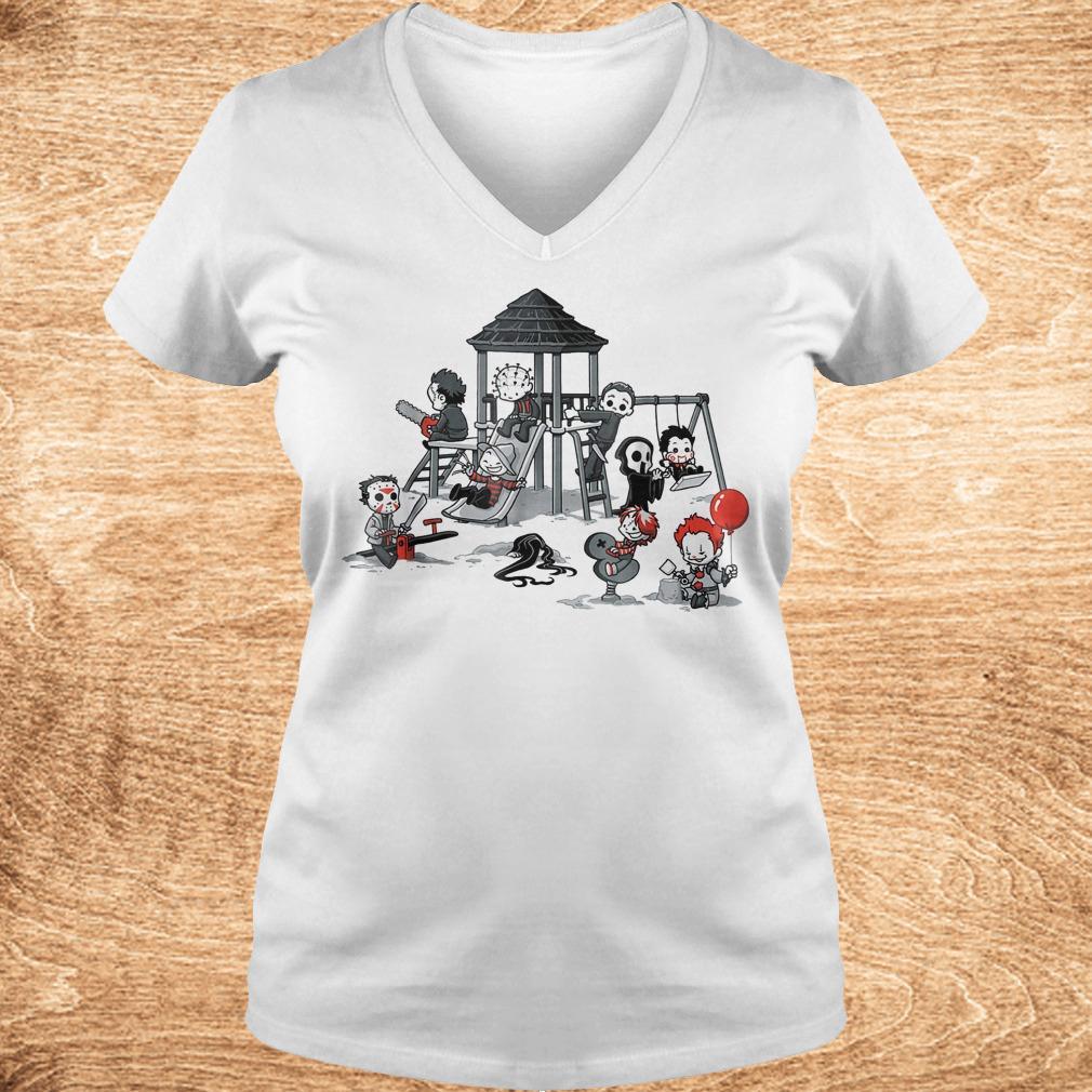 Halloween horror park movie shirt Ladies V Neck - Halloween horror park movie shirt