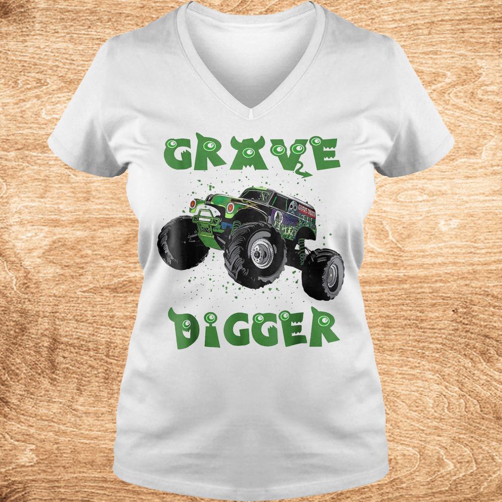 Official Monster Truck Grave green Digger racing shirt Ladies V Neck - Official Monster Truck Grave green Digger racing shirt