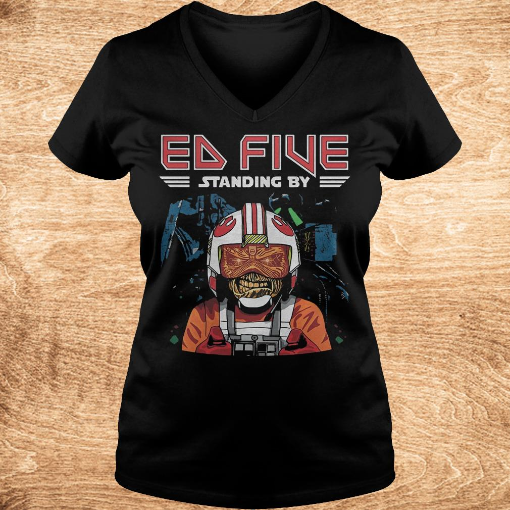 Premium Ed five standing by shirt Ladies V Neck - Premium Ed five standing by shirt