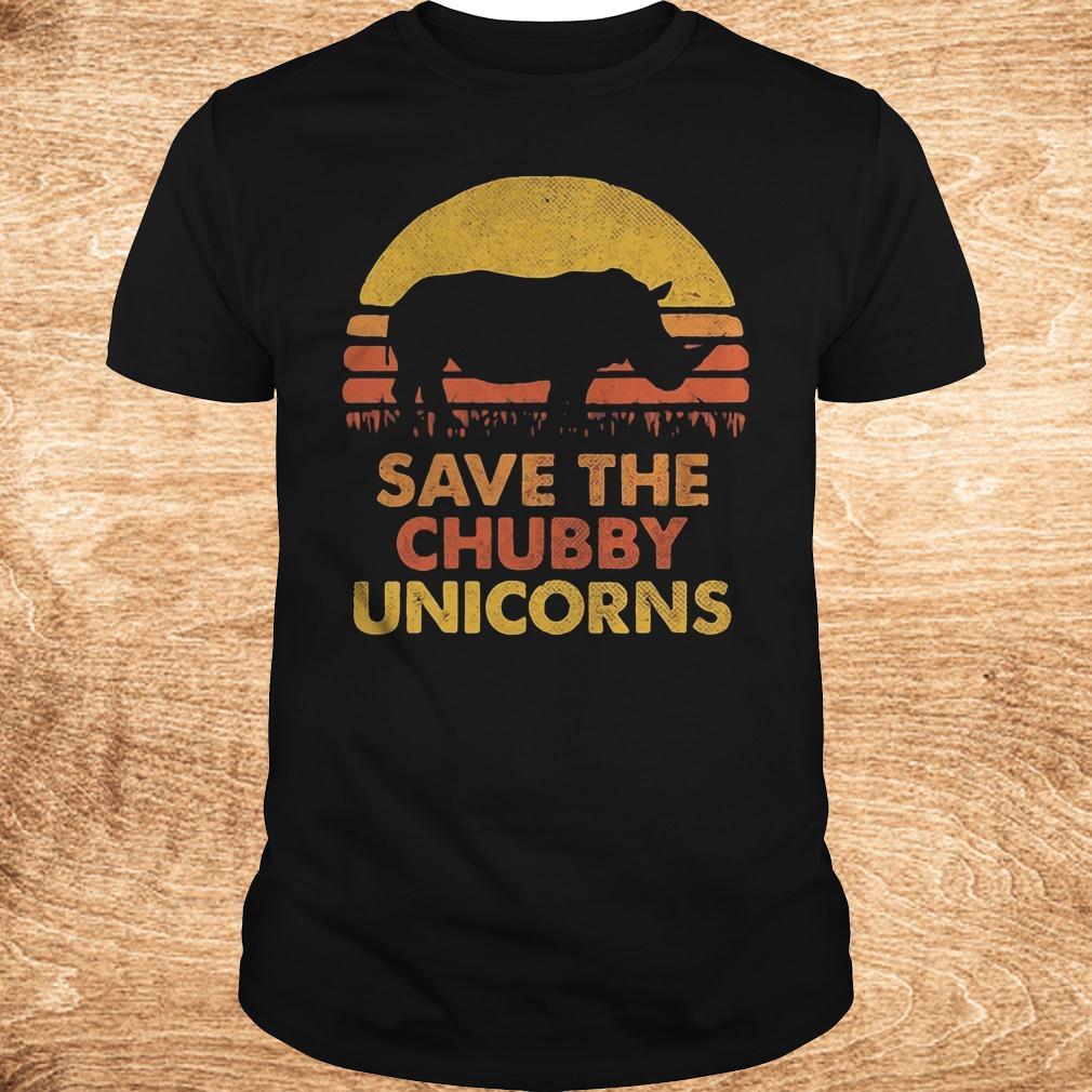 Premium Retro Sunset Rhino save the chubby unicorns shirt Classic Guys Unisex Tee - Premium Retro Sunset Rhino save the chubby unicorns shirt