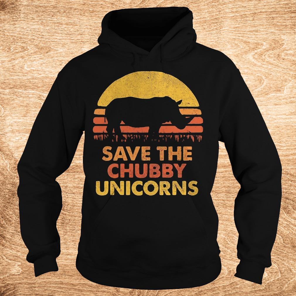 Premium Retro Sunset Rhino save the chubby unicorns shirt Hoodie - Premium Retro Sunset Rhino save the chubby unicorns shirt