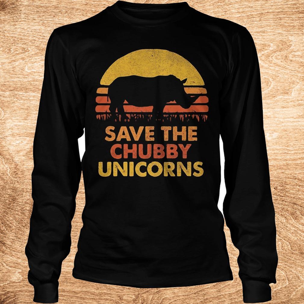 Premium Retro Sunset Rhino save the chubby unicorns shirt Longsleeve Tee Unisex - Premium Retro Sunset Rhino save the chubby unicorns shirt