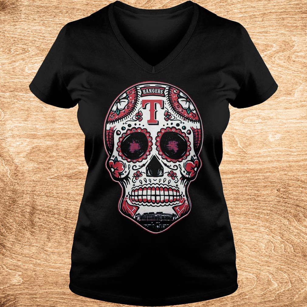 Premium Skull Texas Ranger Shirt Ladies V Neck - Premium Skull Texas Ranger Shirt