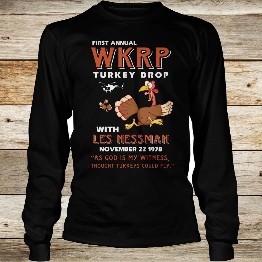 Premium Thankgiving First Annual WKRP Turkey drop with les nessman shirt Longsleeve Tee Unisex - Premium Thankgiving First Annual WKRP Turkey drop with les nessman shirt