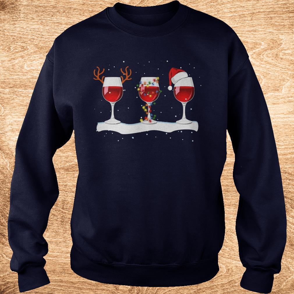 Premium Three wine glasses with Christmas light, deer horn and Santa hat shirt