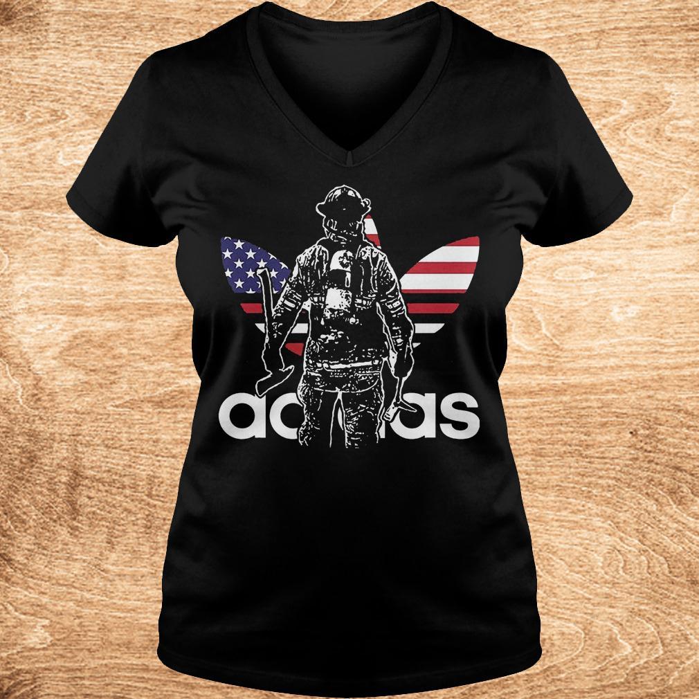 Proud firefighter adidas shirt Ladies V Neck - Proud firefighter adidas shirt