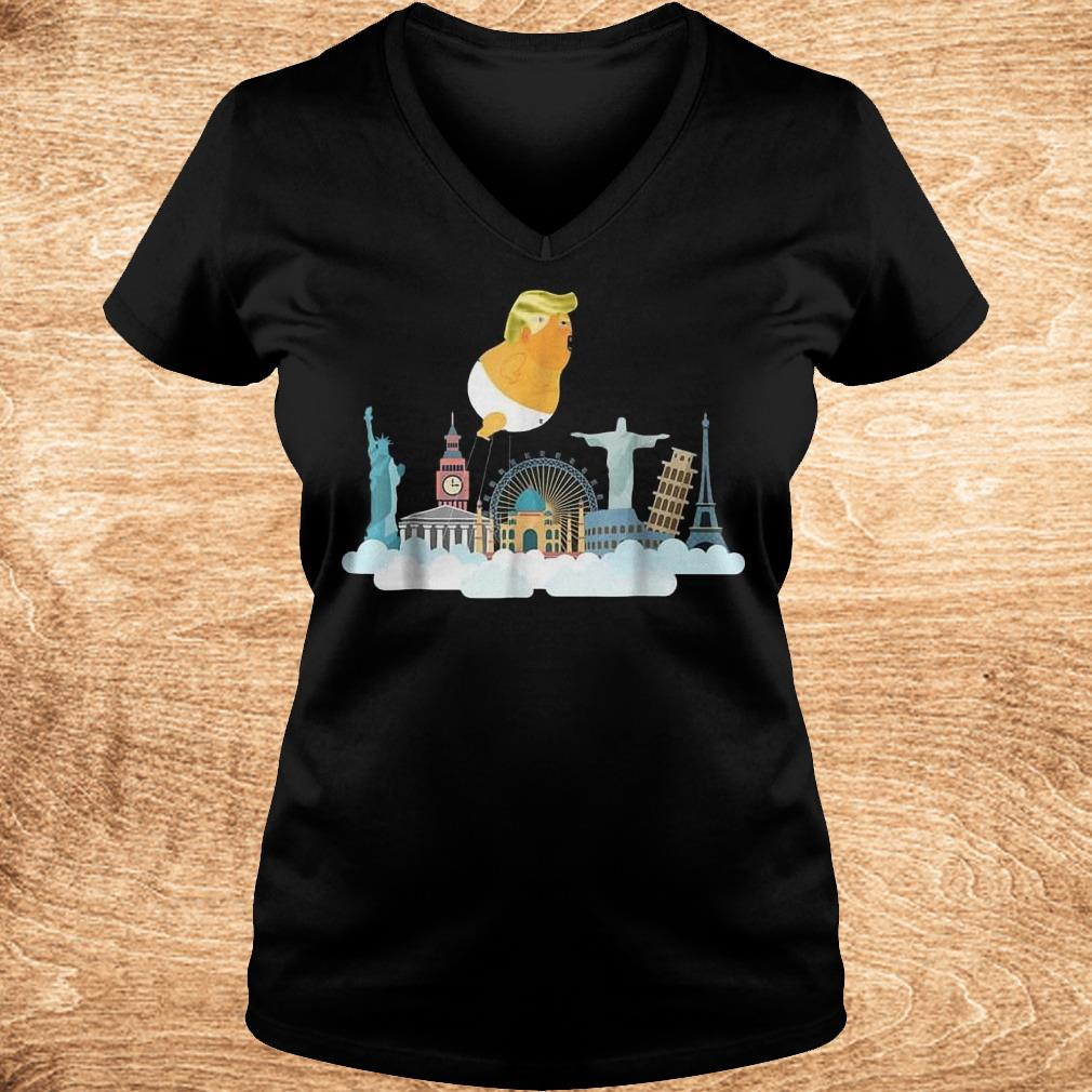 Trump Baby Balloon Travelling Around the World T Shirt Ladies V Neck - Trump Baby Balloon Travelling Around the World T-Shirt