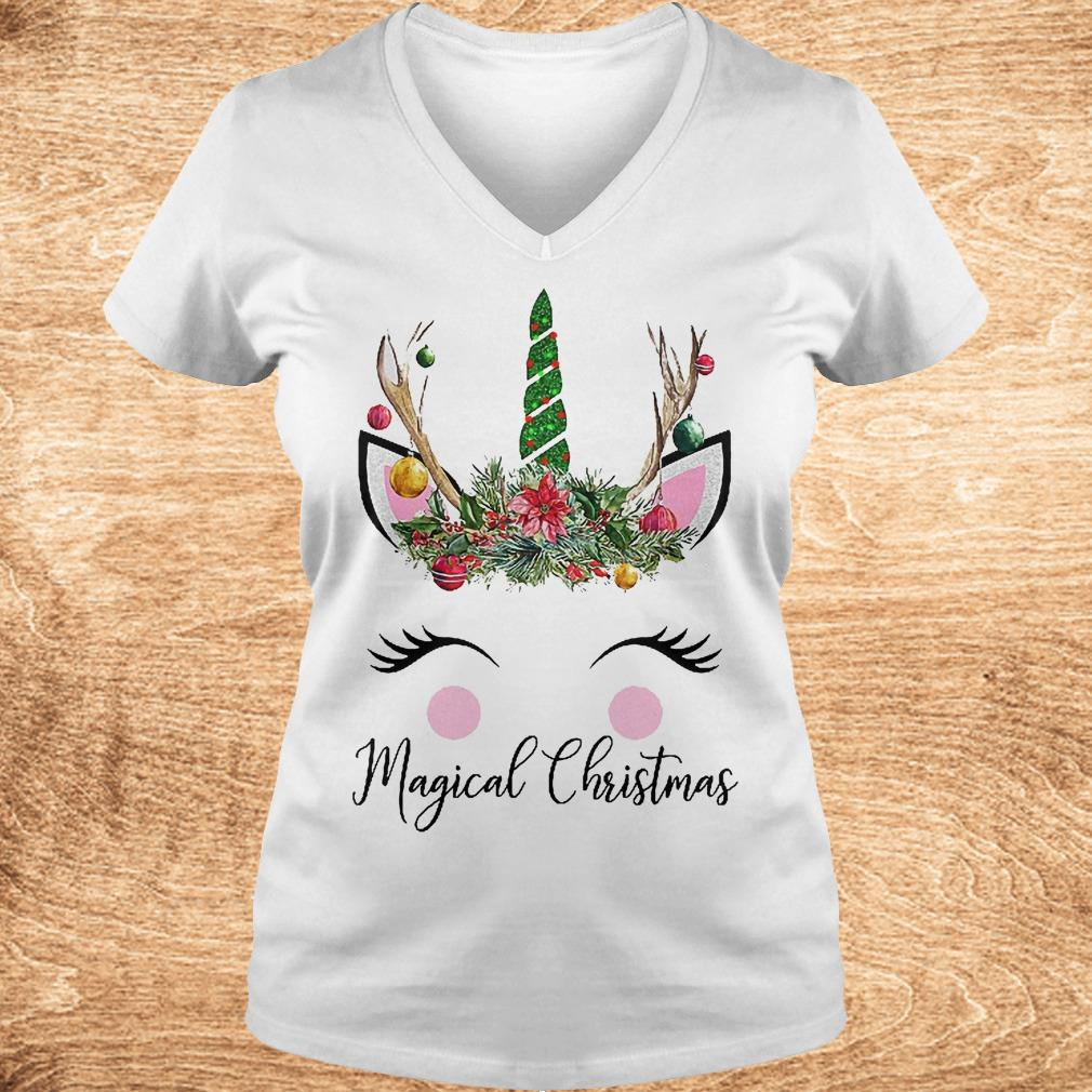 Unicorn magical Christmas Shirt Ladies V Neck - Unicorn magical Christmas Shirt