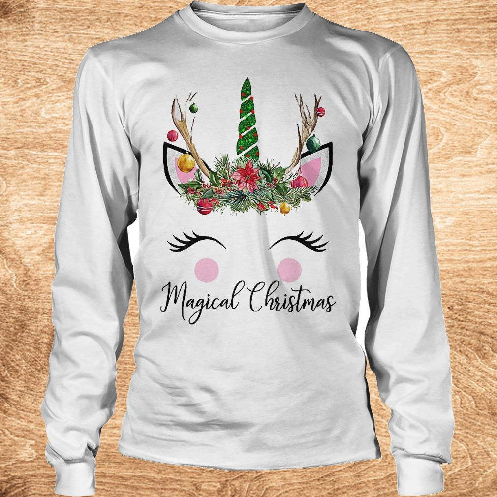 Unicorn magical Christmas Shirt Longsleeve Tee Unisex - Unicorn magical Christmas Shirt