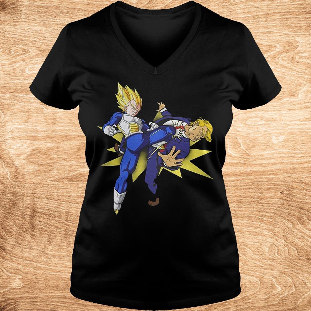 Vegeta hitting Donald Trump in the face Shirt Ladies V Neck - Vegeta hitting Donald Trump in the face Shirt
