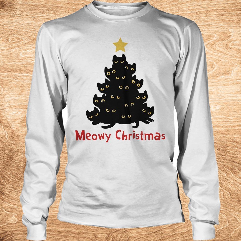 Funny Christmas Tree Cat Meowy sweatshirt Longsleeve Tee Unisex - Funny Christmas Tree Cat Meowy sweatshirt