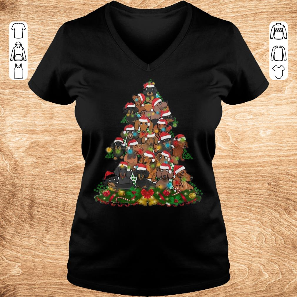 Funny Dachshunds Christmas Tree shirt sweater Ladies V Neck - Funny Dachshunds Christmas Tree shirt sweater