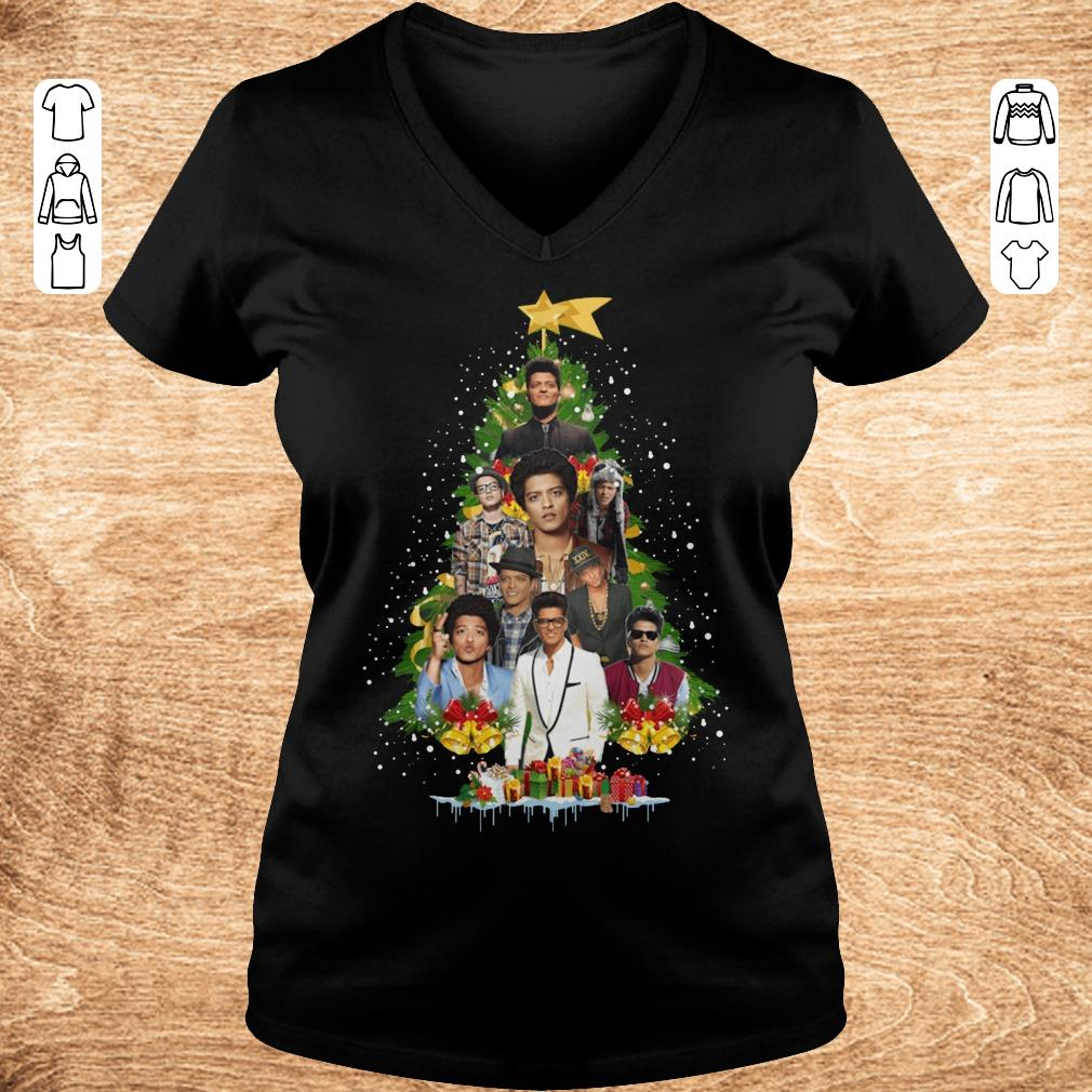 Hot Bruno Mars Christmas tree shirt Ladies V Neck - Hot Bruno Mars Christmas tree shirt