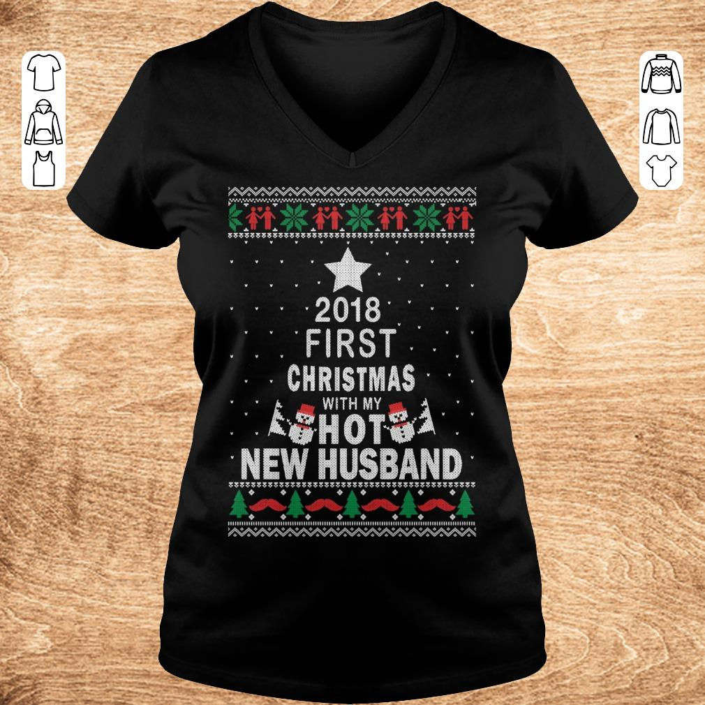 Official 2018 first christmas with my hot new husband shirt sweatshirt Ladies V Neck - Official 2018 first christmas with my hot new husband shirt sweatshirt