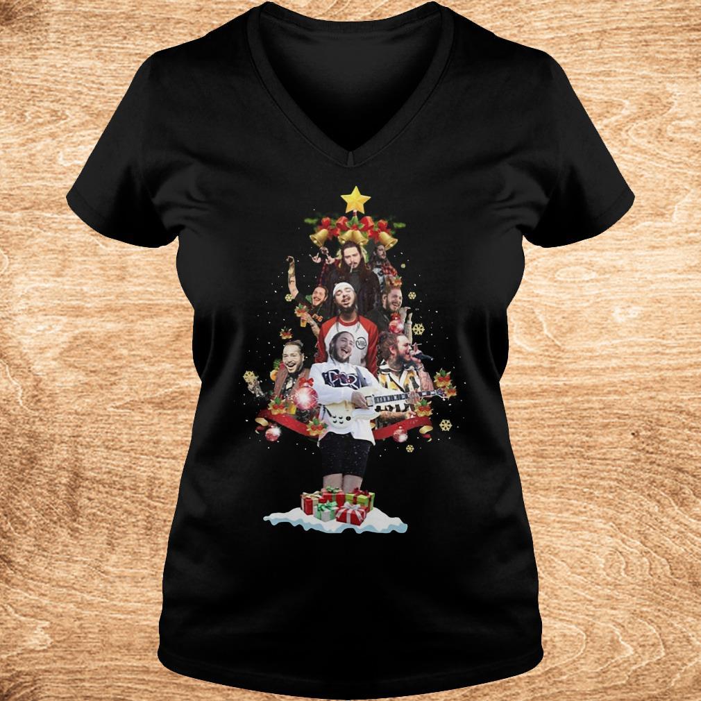 Official Malone Christmas tree sweatshirt Ladies V Neck - Official Malone Christmas tree sweatshirt