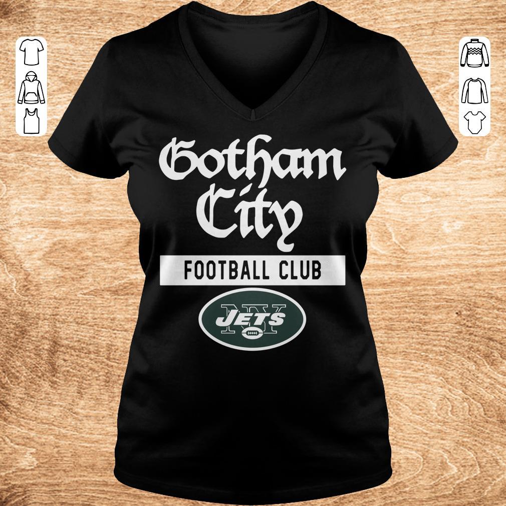 Original New York Jets Gotham City Football club shirt Ladies V Neck - Original New York Jets Gotham City Football club shirt