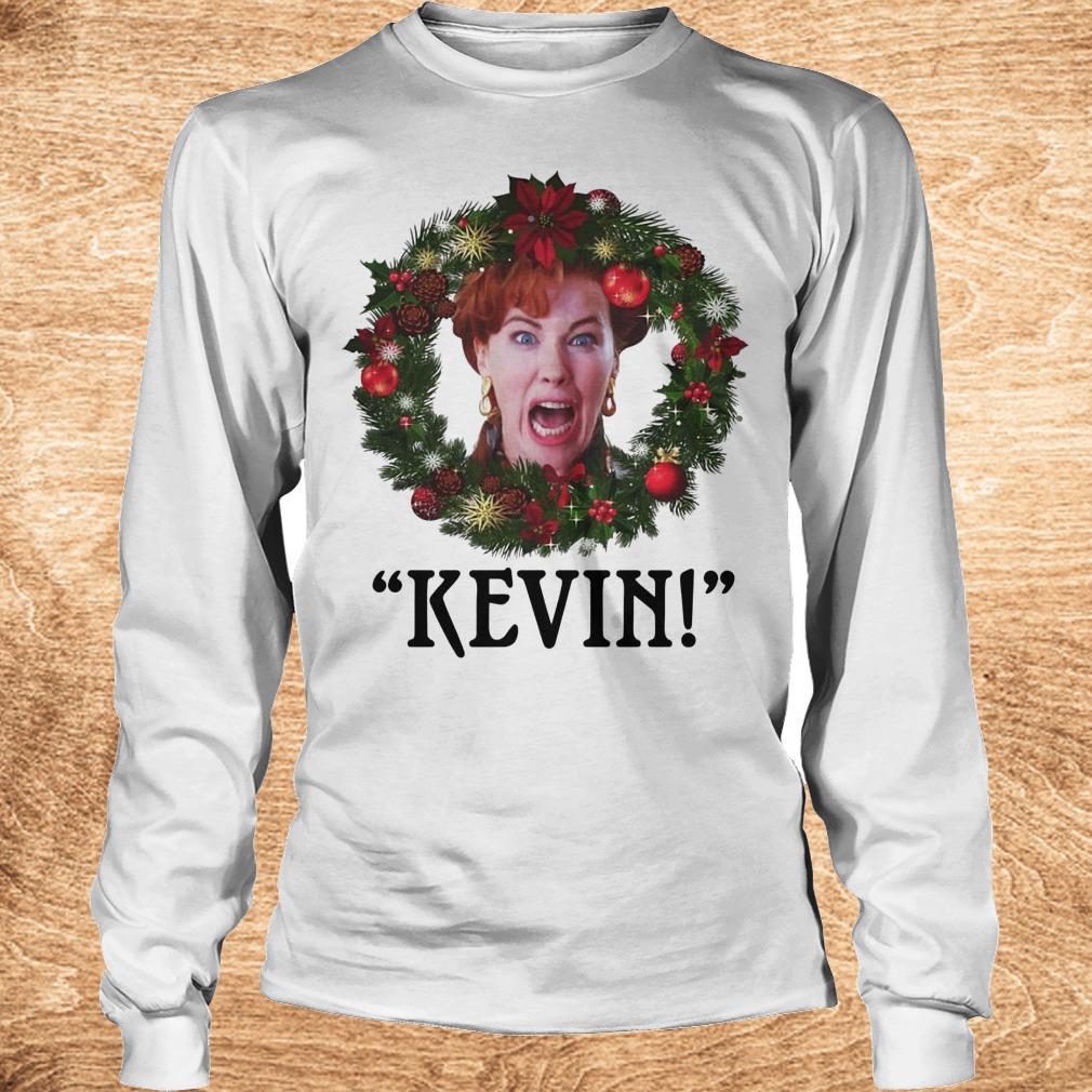 Premium Christmas wreath Home alone Kevin scream shirt Longsleeve Tee Unisex - Premium Christmas wreath Home alone Kevin scream shirt