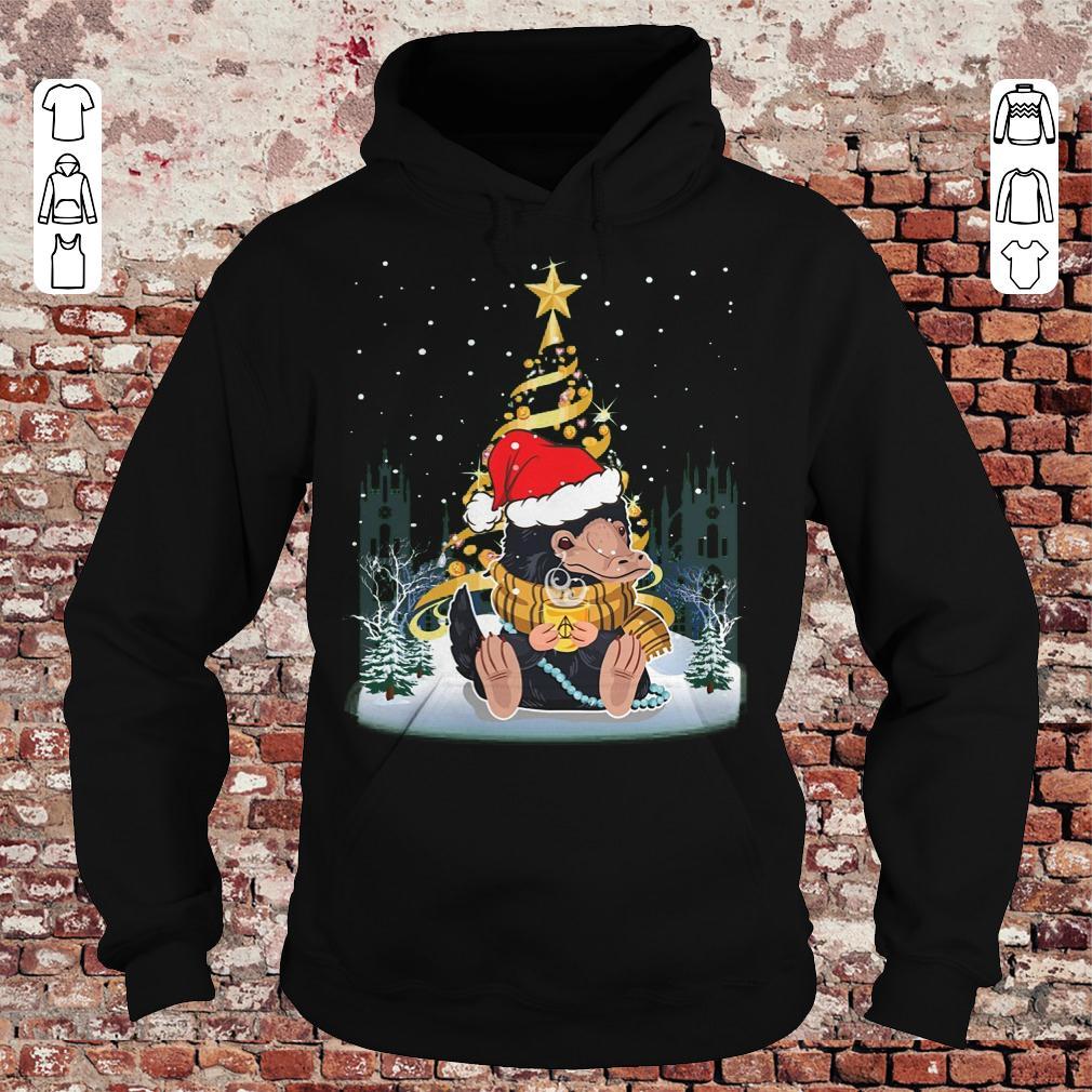 Premium Niffler with santa hat gold christmas tree shirt Hoodie - Premium Niffler with santa hat gold christmas tree shirt