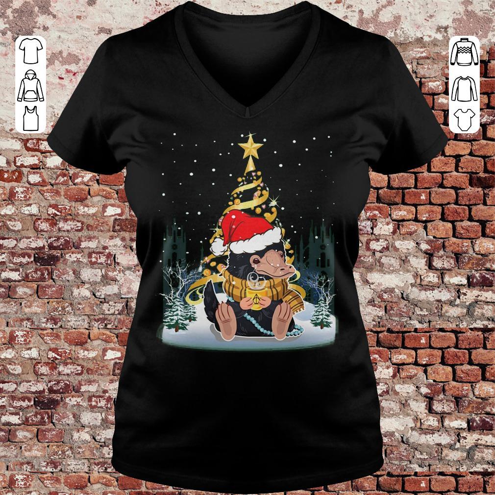 Premium Niffler with santa hat gold christmas tree shirt Ladies V Neck - Premium Niffler with santa hat gold christmas tree shirt