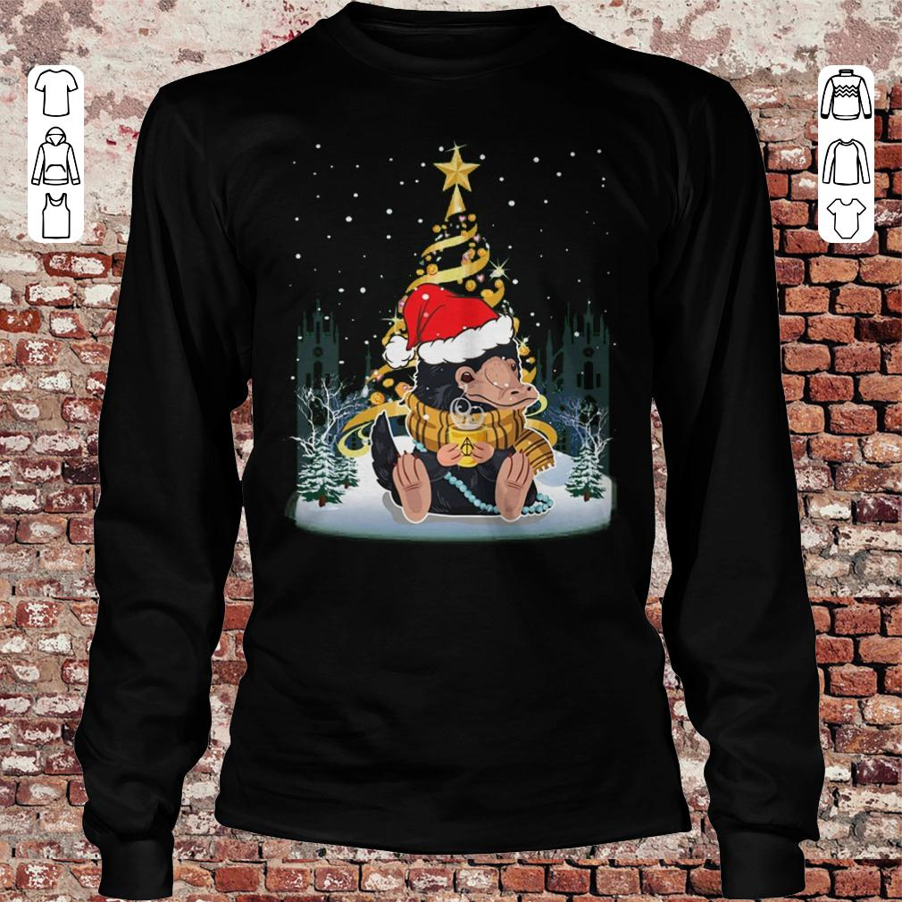 Premium Niffler with santa hat gold christmas tree shirt Longsleeve Tee Unisex - Premium Niffler with santa hat gold christmas tree shirt